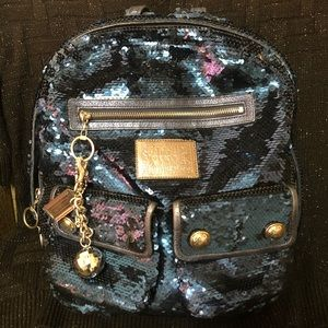 Coach Poppy Spotlight Sequin Backpack Blue LE RARE